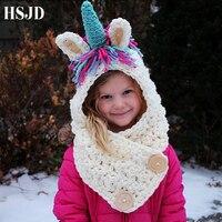 3 10 Years Baby Girls Handmade Hats Unicorn Children Winter Knitted Hat Kids Wrap Unicorn Scarf Caps Cute Cartoon Animal Cap