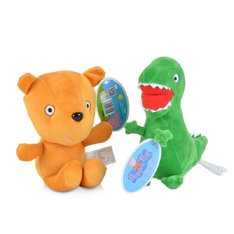 Peppa Pig Dinosaurs Bear 13cm/19cm Stuffed Animals & Plush Toys For Kids Girls Baby Birthday Party Animal Plush Toys Gifts