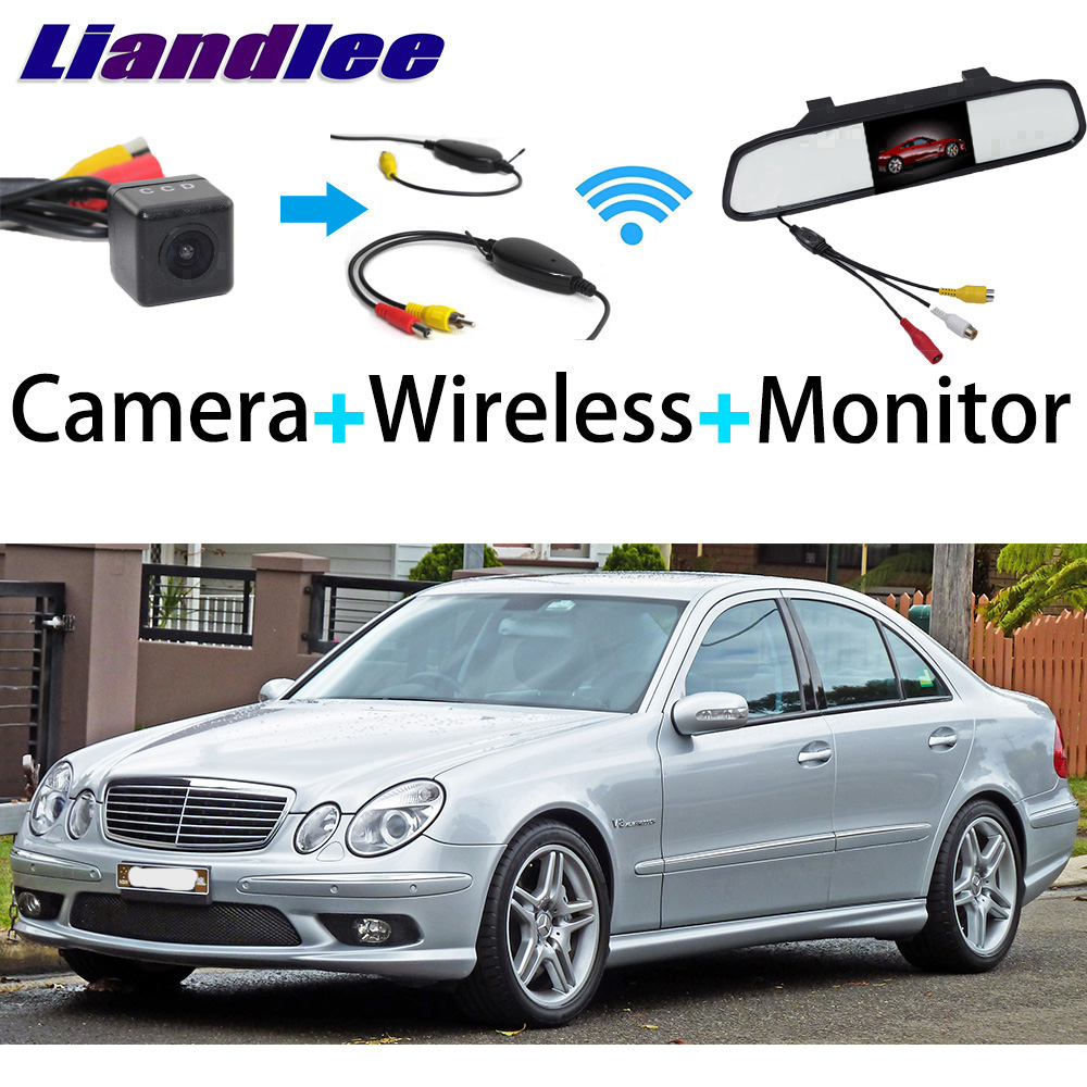 Liandlee 3in1 Wireless Receiver Mirror Monitor Special Rear View Camera For Mercedes Benz MB W211 E350 E420 E500 E550 E55 E63 liandlee 3in1 wireless receiver mirror monitor special rear view camera for mercedes benz mb w211 e350 e420 e500 e550 e55 e63