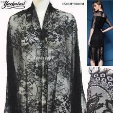 YACKALASI Women Dress Lace Fabrics Soft Eyelash Knitting Lace Black And Off White Nylon Daisy Flower Full Width 150CM*300CM #1