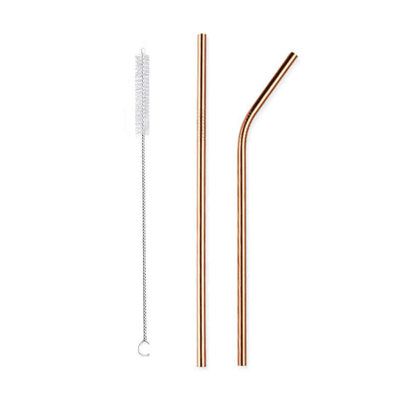 c0c5f447c93 ... Reusable Stainless Steel Straws Eco Friendly Metal Drinking Straws Long rose  gold Bent Straight Straw Set ...