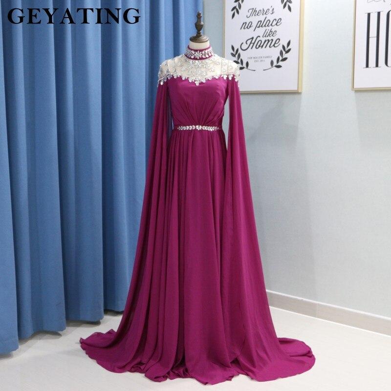Elegant High Neck Muslim Fuchsia   Evening     Dress   Long Sleeves Crystal Arabic Kaftan Dubai Prom   Dresses   2018 Long Black Formal Gown