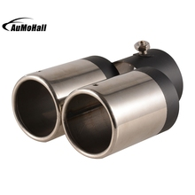 Y-Pipe Dual/Dual Automobile Exhaust Pipes Tips Car Stainless Steel Chrome Round Tail Muffler Tip Pipe