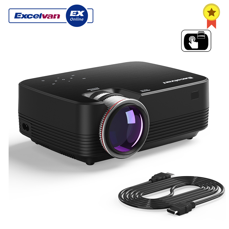 Excelvan Q6 Mini Portable LED Projector 1800Lumen Touch Panel Multimedia Video Projecyor Support 1080P HDMI VGA