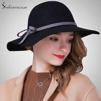 Sedancasesa Woman Autumn Winter Female Hat Lady Fashion Woolen Felt Fedoras Girls Elegant Bowknot British Leisure Girls Caps