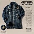 New arrival mens cowboy slim denim shirt casual fashion warm jacket for male long-sleeved autumn hole denim jacket