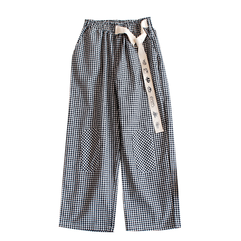 Fashion Design Plaid 2018 Elastic Waist Women Straight Pants Capris Cartoon Print Belt Calf Length Pants Summer Preppy Style 20