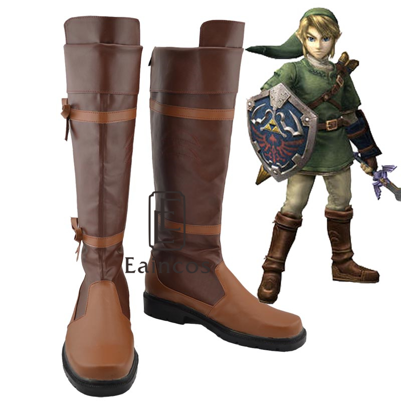 Anime The Legend of Zelda Link Brown Cosplay Halloween Party Shoes Fancy Boots Custom Made цена
