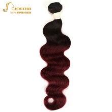 Joedir-mechones de cabello humano brasileño Remy, precoloreado, 1 unidad, T1B 99J, Color burdeos, Color rojo, envío gratis