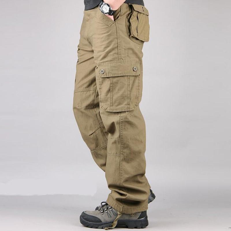 HTB1EOCAazzuK1RjSspeq6ziHVXaV Men's Cargo Pants Mens Casual Multi Pockets Military Large size 44 Tactical Pants Men Outwear Army Straight slacks Long Trousers