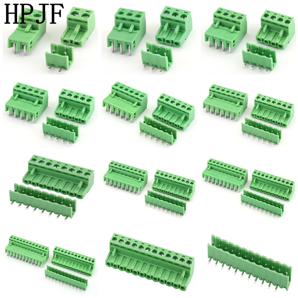 2EDG5.08 2/3/4/5/6/7/8/9/10/12Pin Right Angle Line Terminal Plug Type 300V 15A 5.08mm Pitch Connector Pcb Screw Terminal Block