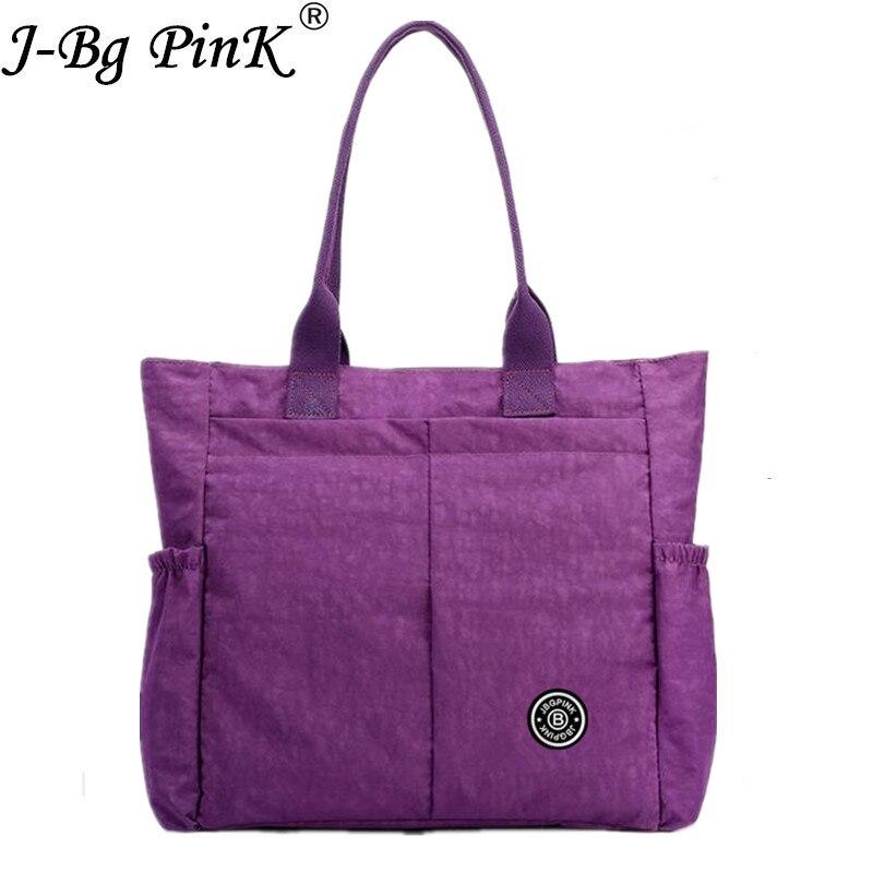 J-BG PinK Large Capacity Designer Handbags High Quality Travel Beach Bags Waterproof Nylon Women Shopping Bag bolsa feminina