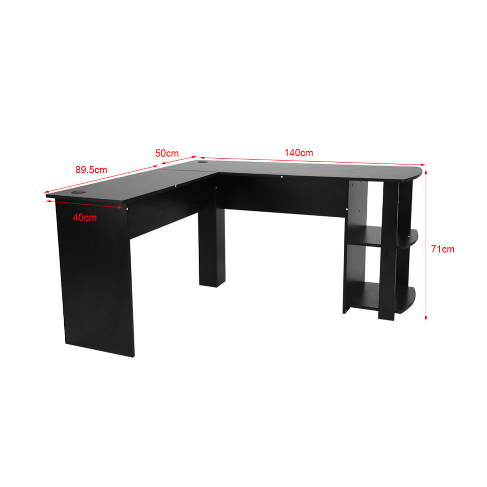 US $68.0 32% OFF|Utility Wooden Computer Office Desk Writing Desk Home  Gaming PC Furnitur L Shape Corner Study Computer Table With Book Shelf-in  ...
