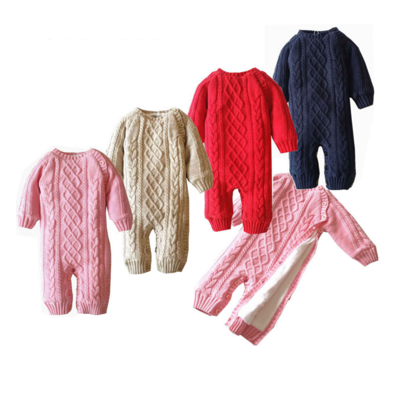 Baby Knitted Sweater Romper 0-18 Months Solid Color Thick Cotton O-neck Autumn Winter Infant Boy Girl Baby Clothing Easy To Repair Back To Search Resultsmother & Kids Rompers