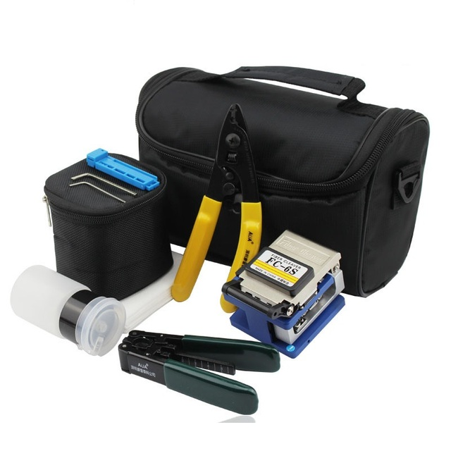 7pcs/set FTTH Fiber Optic Tool Kit with Fiber Cleaver FC-6S Cutter and Fiber Optic Strippers and Cleaning Wipes