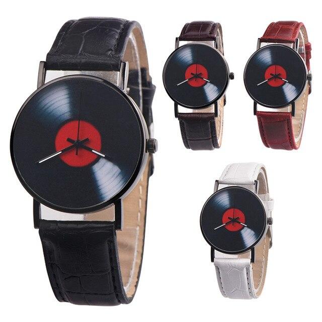 Fashion Unisex Mens Watch Leather Band Vinyl Records Design Analog Alloy Quartz