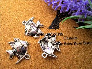 10 шт ..-рыба-Ангел Подвески старинное серебро ангела Подвески-рыбки/амулеты, тропические рыбы 21x24mm