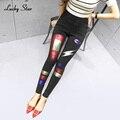 LUCKY STAR 2017 Cintura Alta Estiramento Skinny Calças Lápis Denim Jeans Do Vintage Impressão Grande Tamanho Padrão Pintado Jean A201