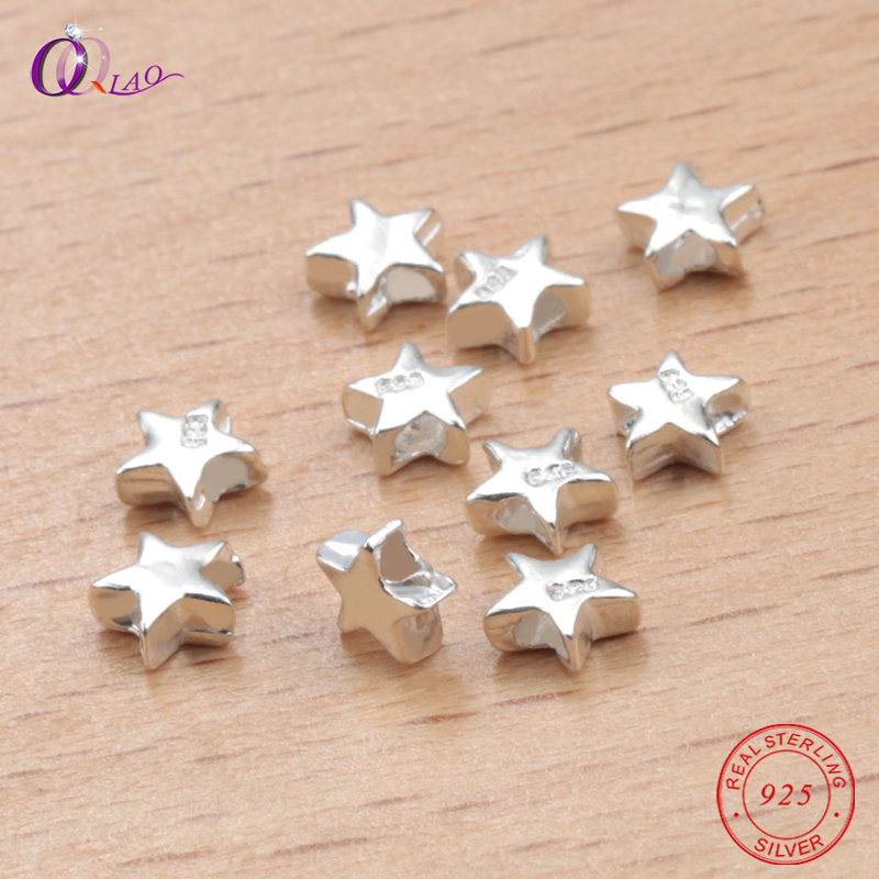 925-Sterling-Silver Beads Necklace Jewelry-Making Loose-Spacer Silver-Star Pentagram
