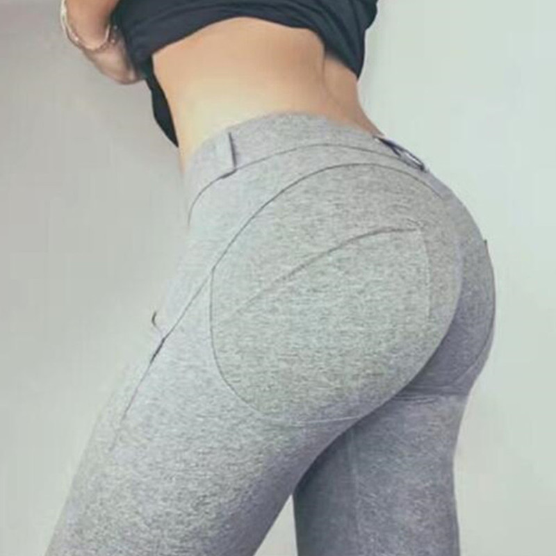 Drop Shipping Brand Grey Workout Leggings Solid High Elastic Push Up Fitness Pants Women Leggings Bodybuilding Jeggings XS1214
