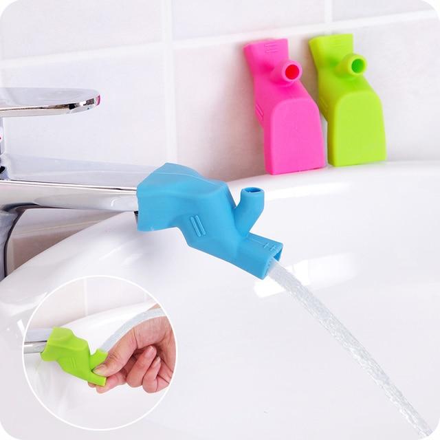 Śliczne łazienki umywalka kran zjeżdżalnia Extender dzieci dzieci mycie rąk rynny zlew przewodnik oszczędność kran łazienka akcesoria