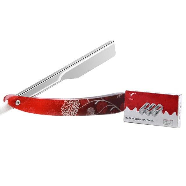 ZY Men Straight Edge Shaving Razor Folding Knife Barber Salon For Shave Beard Eyebrow Hair Trimmer + 10 Blades 1