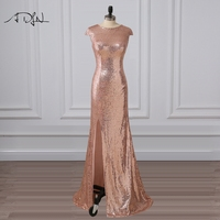ADLN Sexy Slit Rose Gold Sequin Evening Dress Long Prom Dresses Scoop Cap Sleeve Mermaid Party