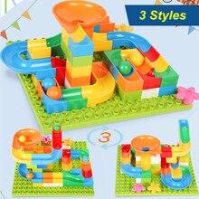 68-84pcs Construction Marble Race Run Maze Balls Track Building Blocks Big Size Educational Brick Compatible With LegoED DuploED цены