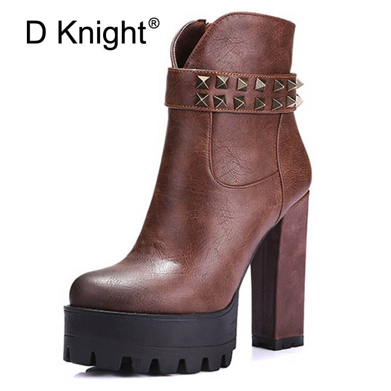 D Knight Rivet Tassels Decoration High Thick Heels Platform Ankle Boots Elegant Round Toe Women Fashion Autumn and Winter Boots стоимость
