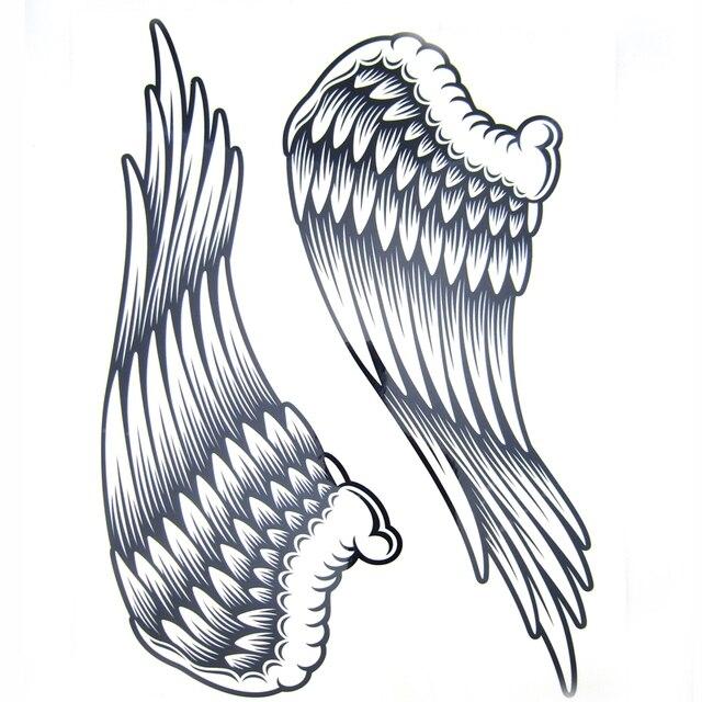 1pcs Big Cool Mens Black Wing Tattoosbeautiful Arm Back Angel Wings