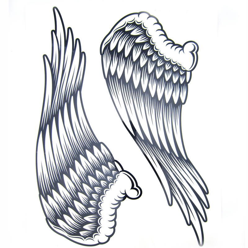 1pcs Big Cool Mens Black Wing Tattoos,Beautiful Arm Back Angel Wings Waterproof Large Temporary Tattoo Stickers For Men 30*21cm