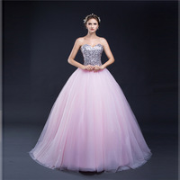 Hot Vestido De Festa Sweetheart Pink Ball Gown Evening Dress 2018 Formal Dress Vestido Longo De Festa Sequined Lace Evening Gown