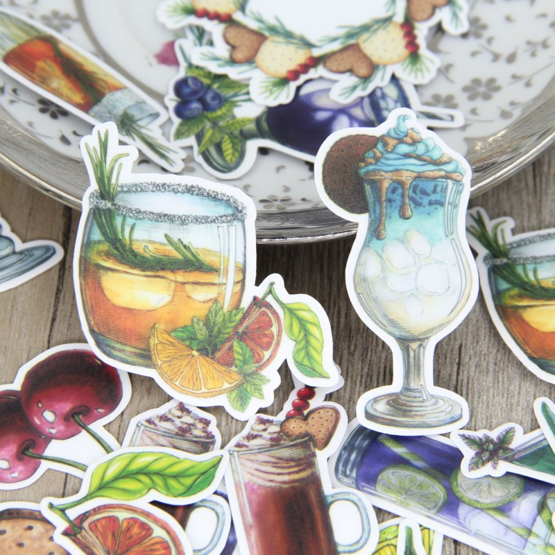 Summer Cold Drink Food Biscuit Scrapbooking Stickers Decorative Sticker DIY Craft Photo Albums Decals Diary Deco