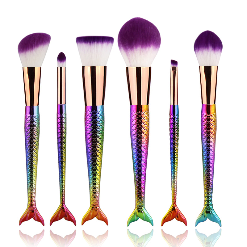 ODESSY Mermaid Brush Makeup Brushes Fish Tail Foundation Blending - Make-up