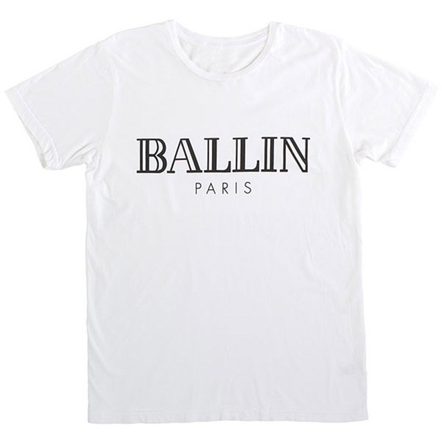 "Nieuwe t-shirt ""Ballin Parijs"" vrouwen & Mannen Brief Print T-shirts 2016 Katoen Casual Zwart Wit Zomer Tshirt Merk Tees T-F10990"