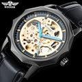 GEWINNER mode marke männer mechanische uhren lederband männer automatische skeleton schwarz uhren männlichen armbanduhren reloj hombre-in Mechanische Uhren aus Uhren bei
