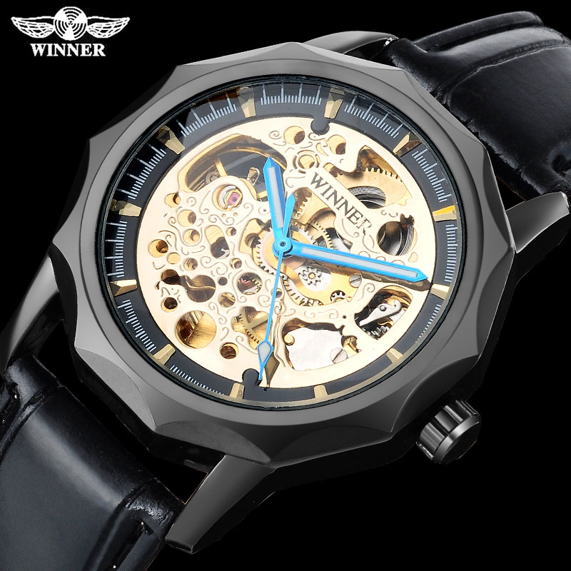 WINNER fashion brand men mechanical watches leather strap men's automatic skeleton black watches male wristwatches reloj hombre