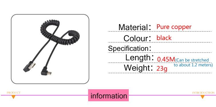 Cable Length: 50PCS, Color: Black Cables USB2.0 Revolution 90 Degree Bend T-Type Public Data line Extension Cable Spring line can be Stretched to 1.2m