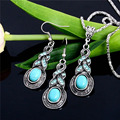 New Arrival Tibetan Silver Plated Fashion Jewellery Set Blue Turquoise Turkish Jewelry Earring And Necklace Sets