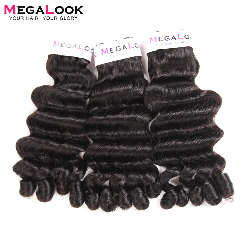 Megalook 3 Bundles Deals with 4 4 Lace Closure Brazilian Funmi Curly Fancy Curl Human Remy