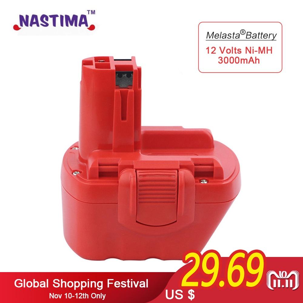 Melasta 12V 3000mAh Ni-MH Rechargeable Battery for Bosch Cordless Power Tool Battery BAT043 BAT045 BAT049 2 607 335 273 BAT120 replacement power tool battery charger for bosch 7 2v gsr9 6 12v 14 4v ni mh ni cd al1411dv gsr7 2 2 gsr9 6 2 gsr12 2 gsb12 2