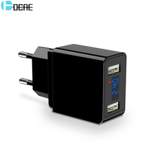 hot deal buy dcae 2 ports usb charger 5v/2.4a led display travel wall charger eu/us mobile phone charger adapter for iphone samsung xiaomi