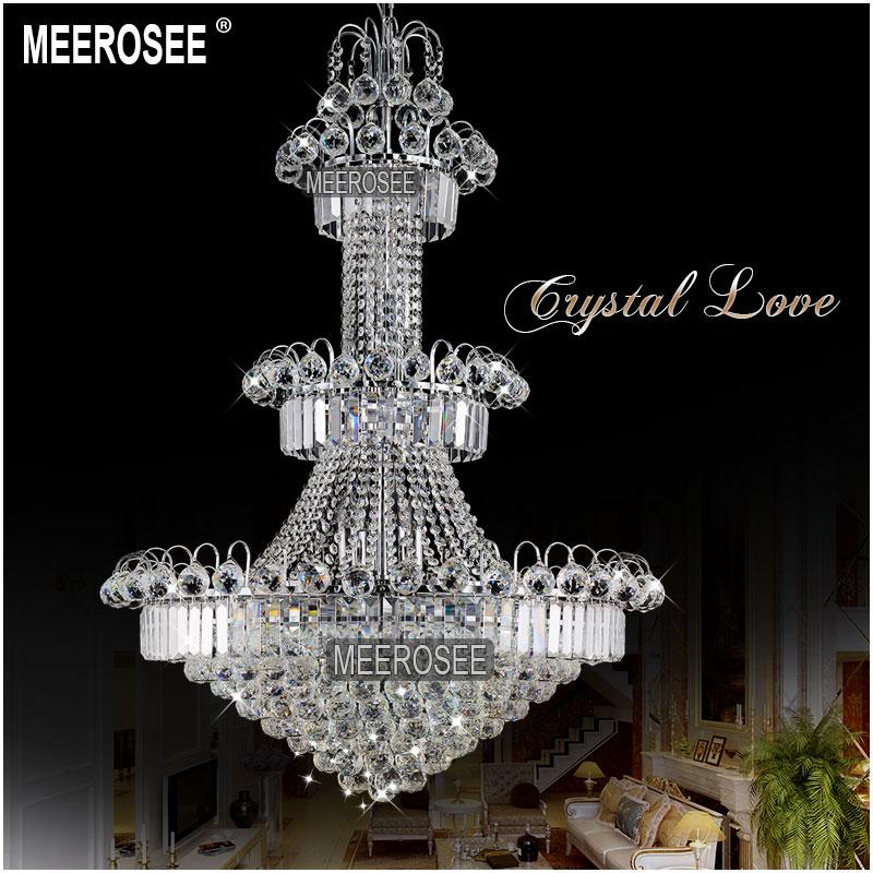 Duży hotelowy srebrny kryształowy żyrandol. Oprawa oświetleniowa - Oświetlenie wewnętrzne - Zdjęcie 2