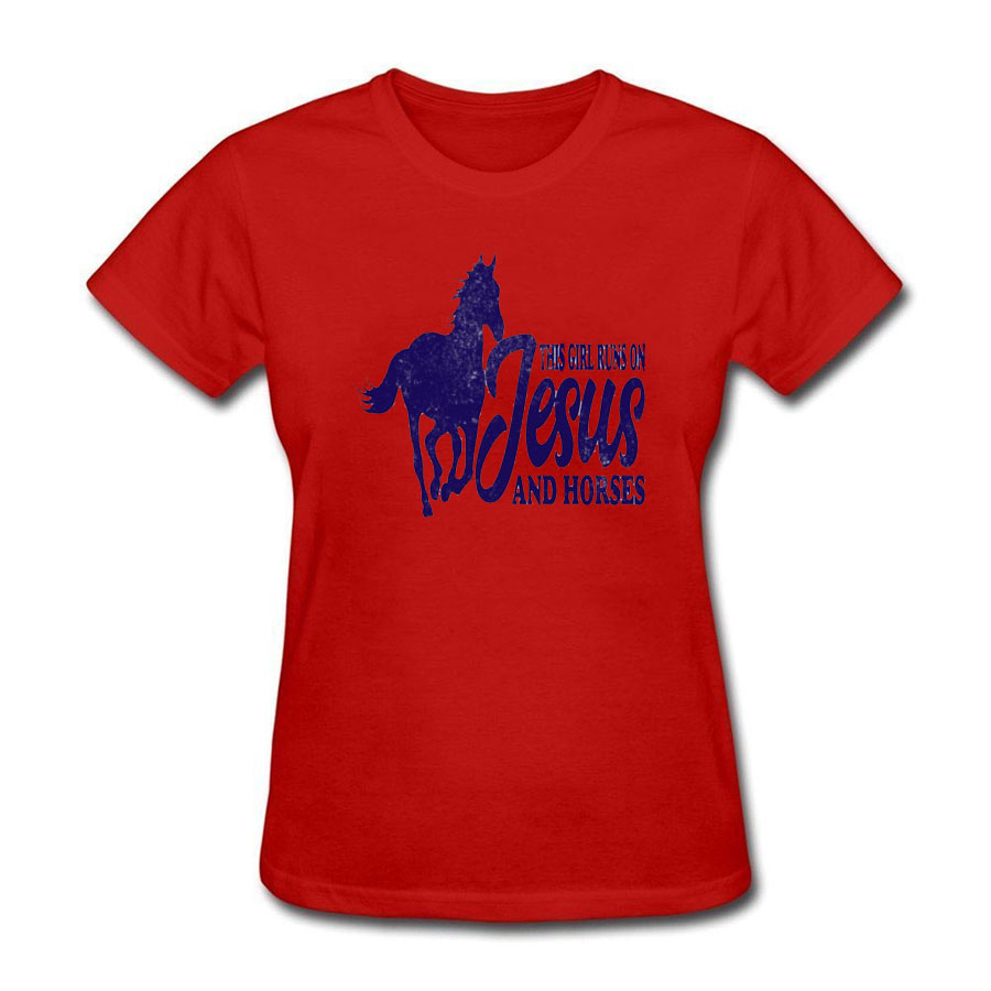The Girl Runs On Jesus And Horses Funny T Shirt Print Shirts Women Fashion Style Funny Cotton Casual Tee T-Shirt Femme