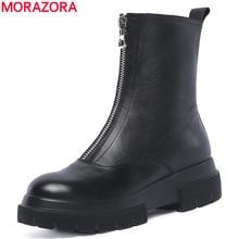 MORAZORA プラスサイズ 34 42 新高品質本革アンクルブーツ女性ジッパー秋冬プラットフォームブーツ女性の靴