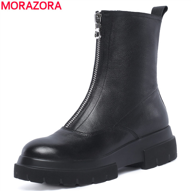 MORAZORA حجم كبير 34 42 جديد جودة عالية جلد طبيعي حذاء من الجلد للنساء سستة الخريف الشتاء منصة الأحذية أحذية نسائية