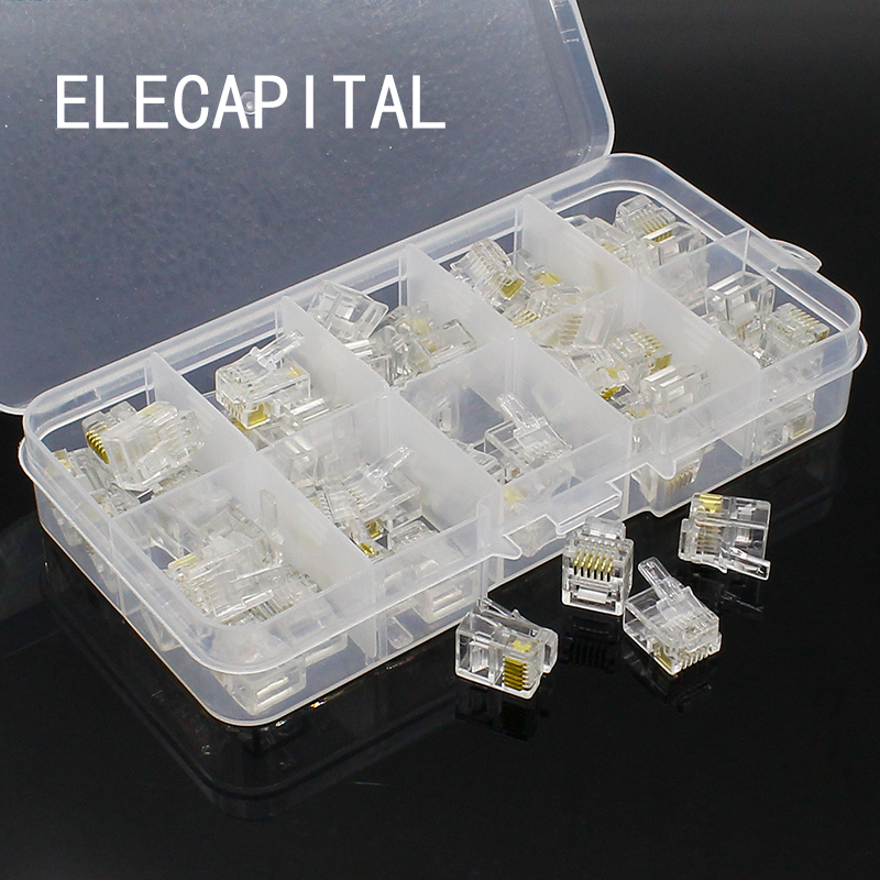 50 pcs RJ11 6P6C Modular Jack Network Male Plugs, 6 Pin, Telephone Connector 100pcs rj11 4p4c female pcb mount modular plug jack network connector 4p grey