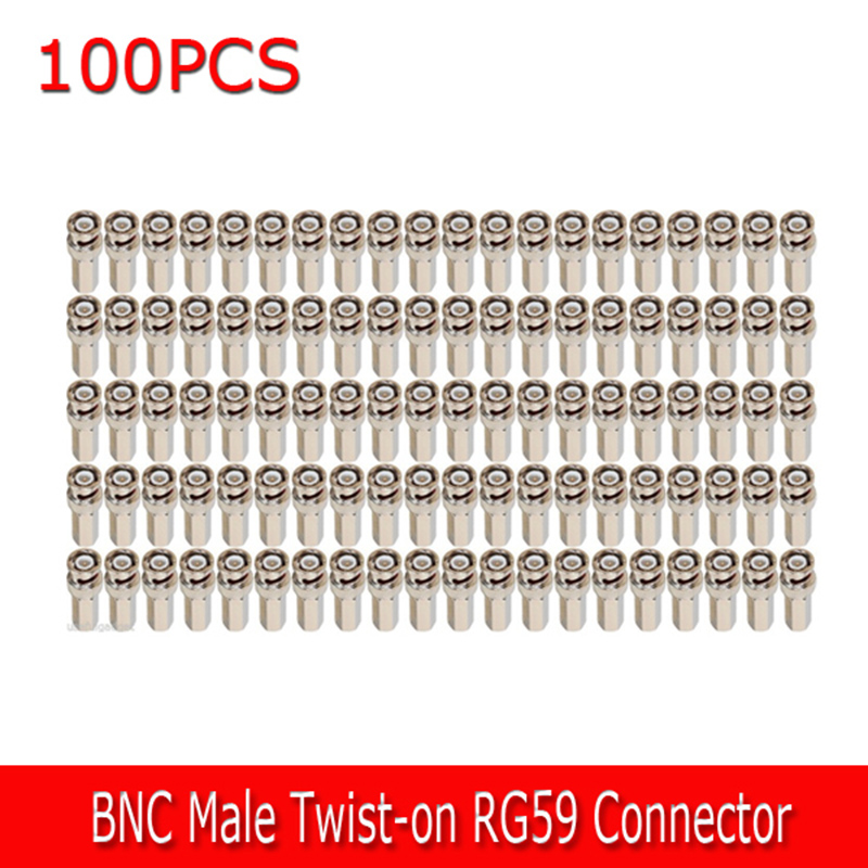 100 Pcs. BNC Male Twist-on RG59 Connector for CCTV Coax Coaxial Security Cameras 2016 hot 10 pcs coaxial coax cat5 bnc male connector for annke coaxial cctv camera home security system