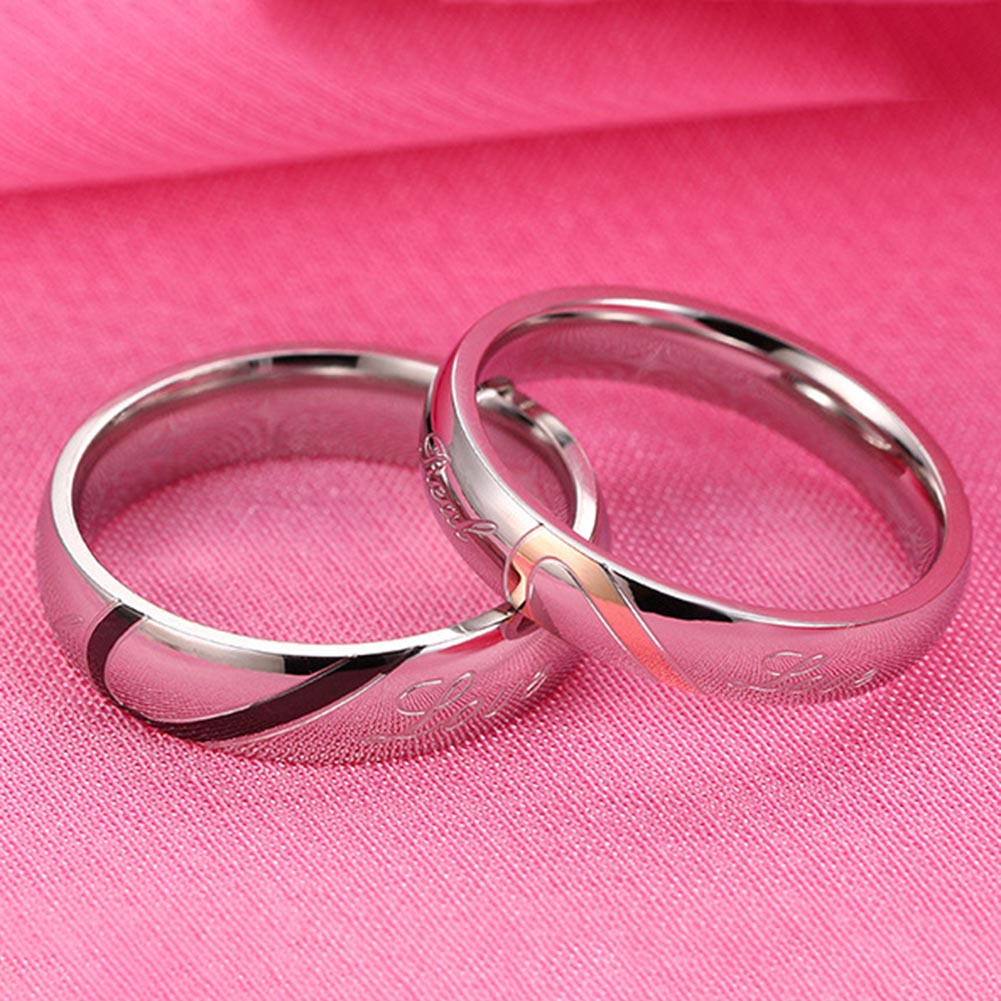 MALE New Design Valentines Titanium Steel Heart-shaped Love Rings Hold Hands Couple Rings Fine Jewelry FOR MEN