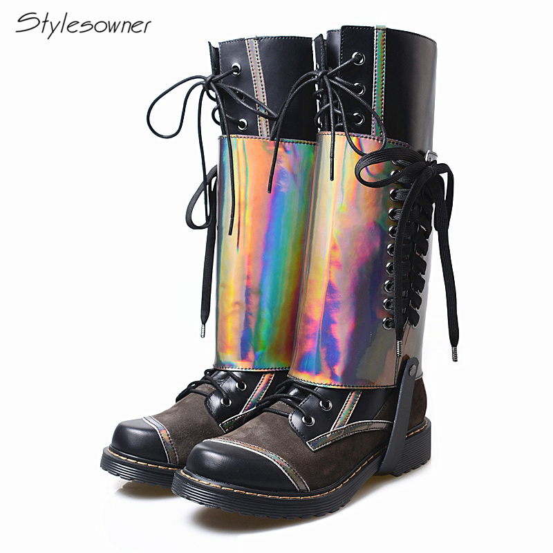 Stylesowner 2018 Autumn Winter Real Cow Leather Flat Knight Boots Big Size Retro Cross Tied High Quality Long Boots Female Botas клавиатура razer blackwidow tournament chroma black usb